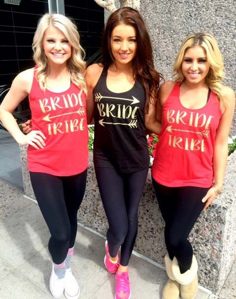 """""""Bride Tribe"""" Red and black tank shirt for the bridal party, bridesmaids, and bride. Make your engagement and wedding custom with Bling N Ink."""