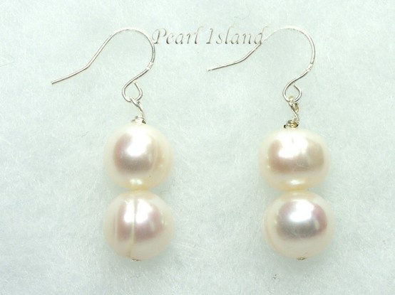 Countessa White Circle Pearl Earrings with 2 pearls: www.pearlisland.co.uk