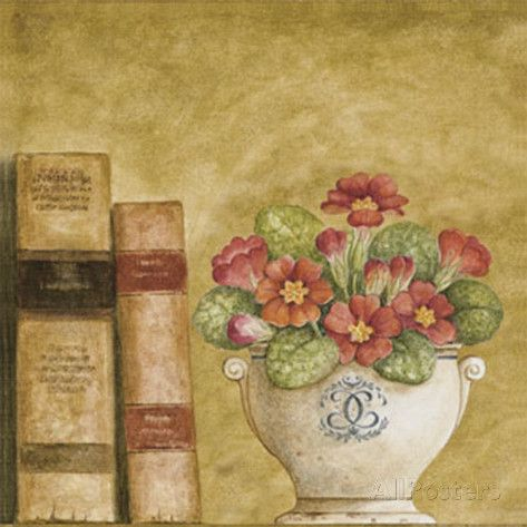 Potted Flowers with Books VII Reproduction d'art