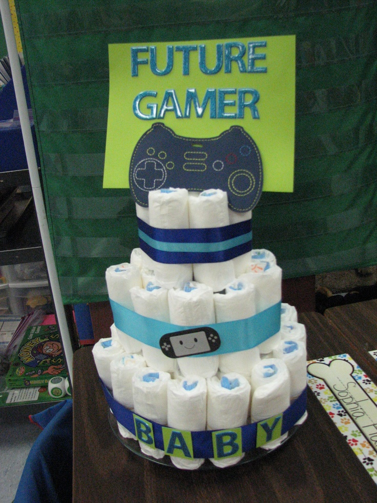 Ordinary Baby Shower Video Ideas Part - 11: Video Game-y Diaper Cake