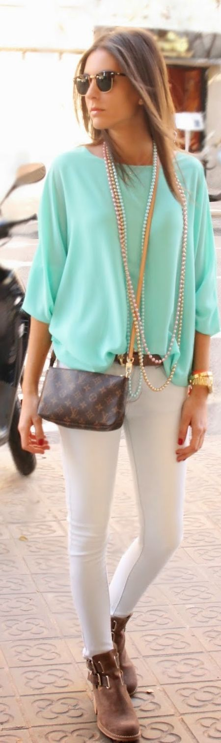 Mint loose top and white skinny pants combo
