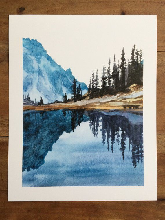 Watercolor Print Olympic National Park Lake Of The Angels Lake Reflection Pacific Northwest Cascades Northwest Art Landscape Print Mountain Paintings Landscape Art Watercolor Art