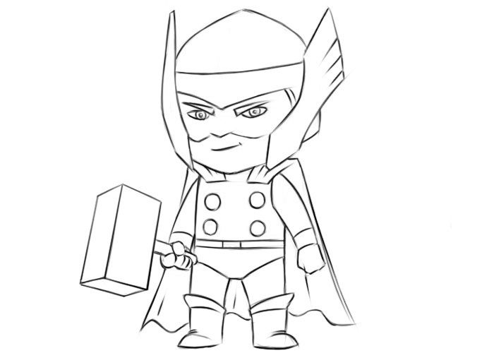 Easy Thor Coloring Page Coloringpagez Com Easy Cartoon Drawings Marvel Cartoon Drawings Marvel Art Drawings
