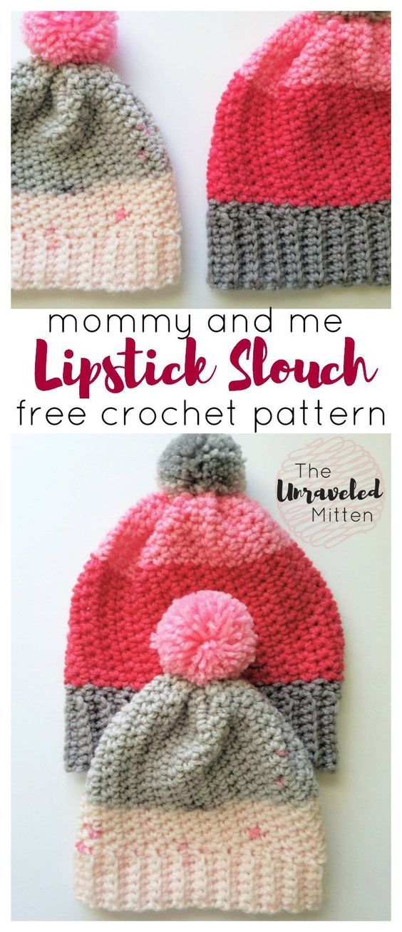Lipstick Slouchy Hat | The Unraveled Mitten | Free Easy Crochet Pattern | Adult and Toddler SIze | Bernat Pop
