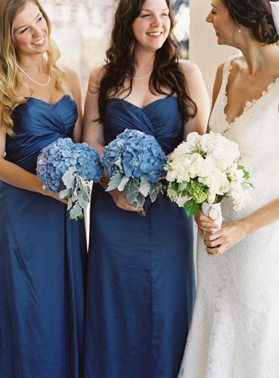Hydrangea blue bridesmaid dresses dress womans life for Elder beerman wedding dresses