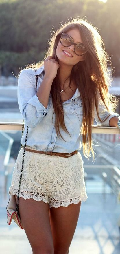 #summer #fashion / denim shirt + lace shorts