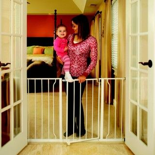 @Overstock - This sturdy, all metal walk-thru gate accommodates a variety of openings ranging from 30 inches to 52 inches wide  Gate includes both 6-inch and 12-inch extension kits  http://www.overstock.com/Baby/Regalo-Easy-Open-Extra-wide-Metal-Gate/3515636/product.html?CID=214117 $36.00
