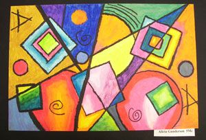 Kandinsky with oil pastels.