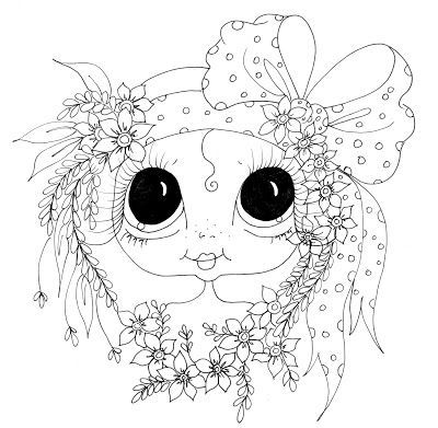 poppies girly colour big eyes digi stamps coloring stamps feminine poppy