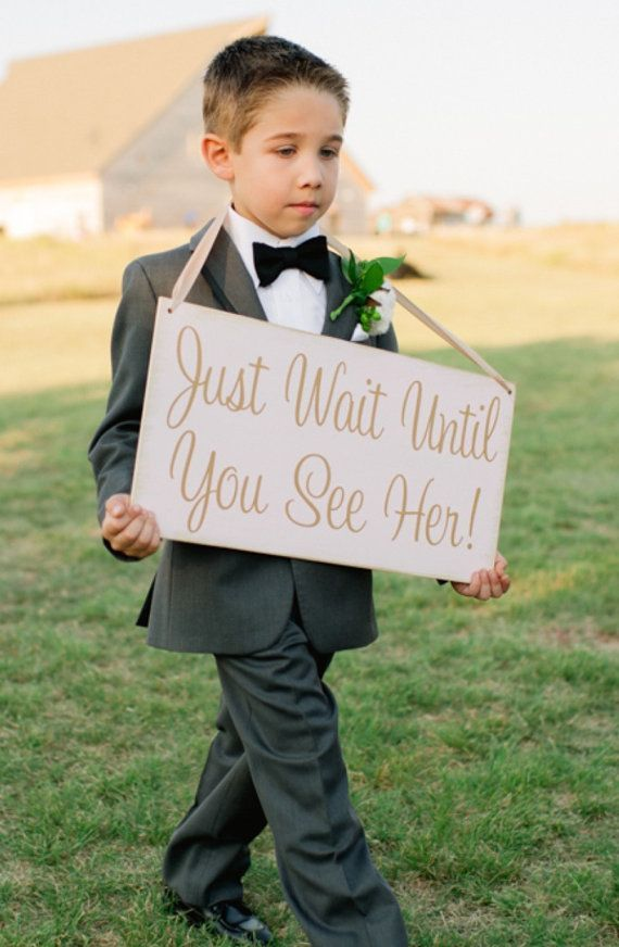 Just Wait Until You See Her - shabby chic - HERE comes the BRIDE - Wedding Sign, Ring Bearer Sign, Flower Girl Sign