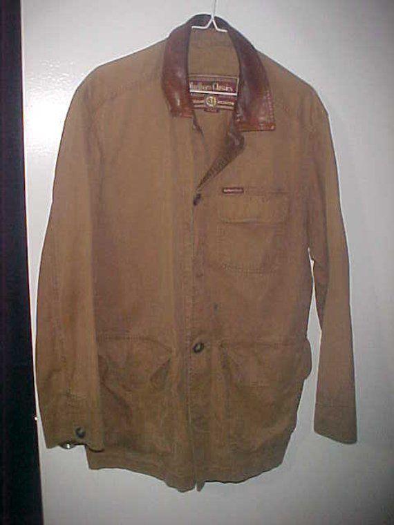 Marlboro Classics Medium Jacket Coat Leather Collar Canvass Leather Coat Coats Jackets Jackets