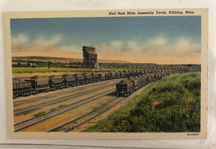 1940s Hull Rust Mine Assembly Yard Railroad Cars Of Iron Hibbing Minnesota Linen