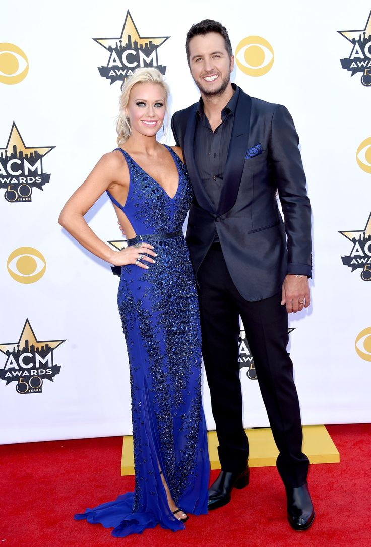 "2015 Academy of Country Music Awards - Luke Bryan and his wife, Caroline Boyer attend the CMA at AT&T Stadium in Arlington, Texas on April 19, 2015. Luke Bryan WON for ""This is How We Roll."""