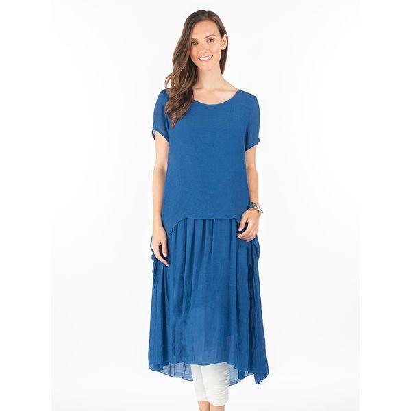 Multi Layer Linen Like Maxi Dress in Royal