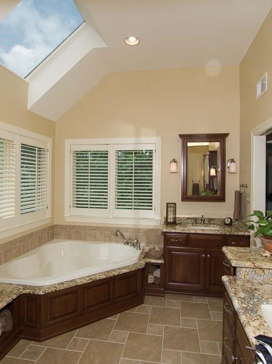 97 best brown bathrooms images on pinterest for Corner tub bathroom ideas
