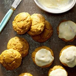 Pumpkin Spice Cookies Recipe -These big, soft spice cookies, created by our Test Kitchen staff, have a sweet frosting that makes them an extra special treat. Enjoy! —Taste of Home Test Kitchen