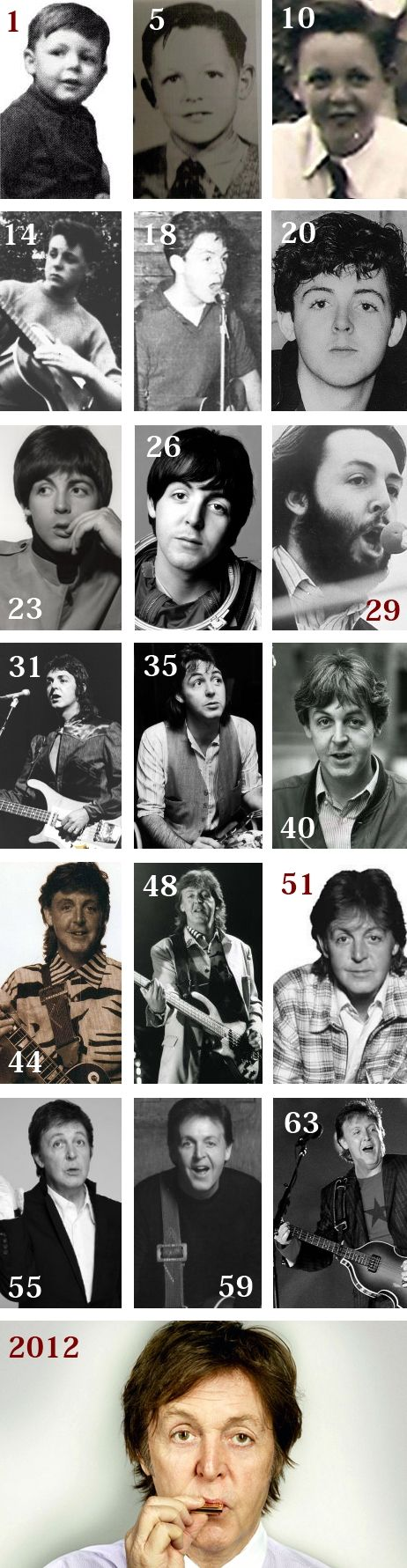 """Paul McCartney calendar ~ life in pictures."" -- the one labeled ""26"" was actually taken in 1965 when he was 23....if it is true that he was replaced in late 1966, as many believe, then all of the photos from ""29"" on are of the replacement Paul...."