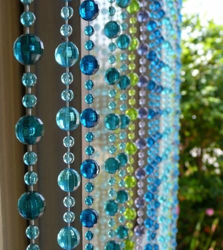 """This Blue and Green Mini Ball Beaded curtain has 34 strands of mini balls and is 36"""" Wide x 72"""" Long.Use in the place of regular doors, closet doors, wedding ba"""