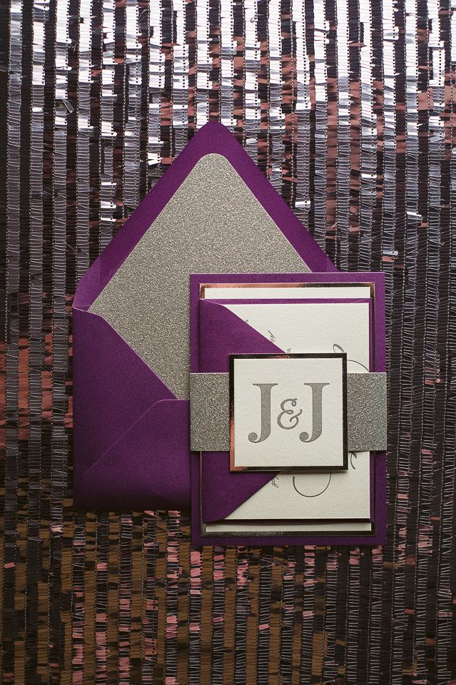 DIANE Suite Fancy Glitter Package, purple and silver, glitter wedding invitations, fancy wedding invitations, sparkly wedding invitations, letterpress wedding invitations, elegant, high end, http://justinviteme.com/collections/styled-collections/products/diane-suite-styled-fancy-glitter-package
