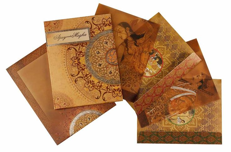 Royal Indian Wedding Card with Traditional Paintings