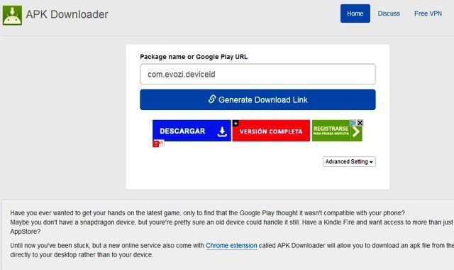APK Downloader es un servicio online para descargar los archivos APK de Google Play. Basta con pegar la url de la aplicación o el nombre del paquete.
