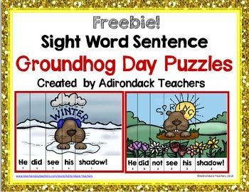 Happy Groundhog's Day Freebie!!If you like this freebie please be kind and leave feedback.If you like our stuff consider  following us to be notified of new products at 50% for 48 hours and  Follower  Freebies! Just click the follow me button.We wanted fun puzzles for the children to put together, but that would help them learn their sight words in context instead of in isolation.