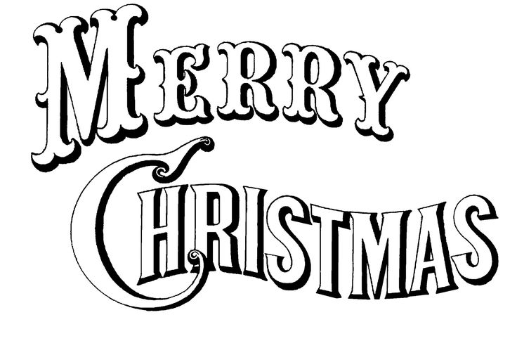 """Merry Christmas"" black & white image, created from a Currier & Ives lithograph.  Would be great to print & color (could get 2 to a standard sheet of paper)."