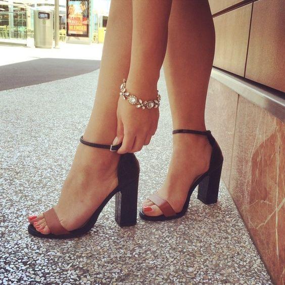 black and brown block heel sandals