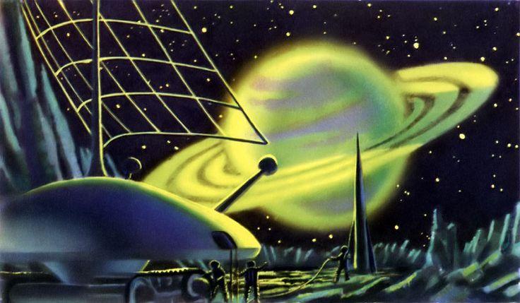 Saturn on Titan - Soviet Art Collaboration ~ 1963 #illustration #vintage #scifi