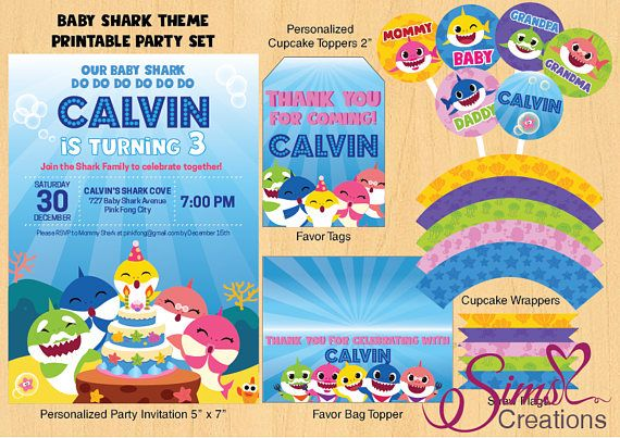 Baby Shark Birthday Party Printables Invitation Cupcake Toppers Thank You Cards Banner