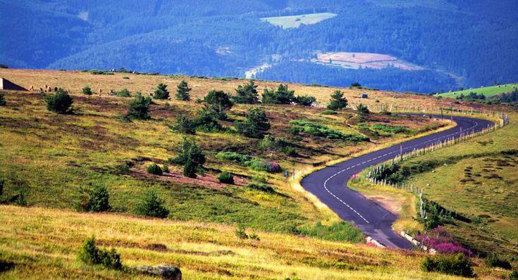 Route de montagne sur le mont Lozère, dans le parc national des Cévennes, en France.