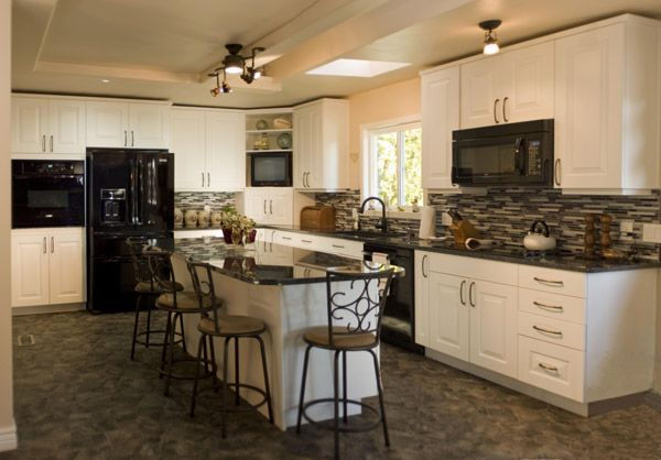 white cabinets with black appliances - I want white (well, cream/off white)  cabinets and black appliances! | Kitchens |