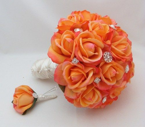 Konfettie rose wedding   bridal bouquet real touch rose wedding flowers rhinestone and roses ...