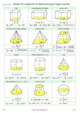geometria solida Volumi e superfici delle principali