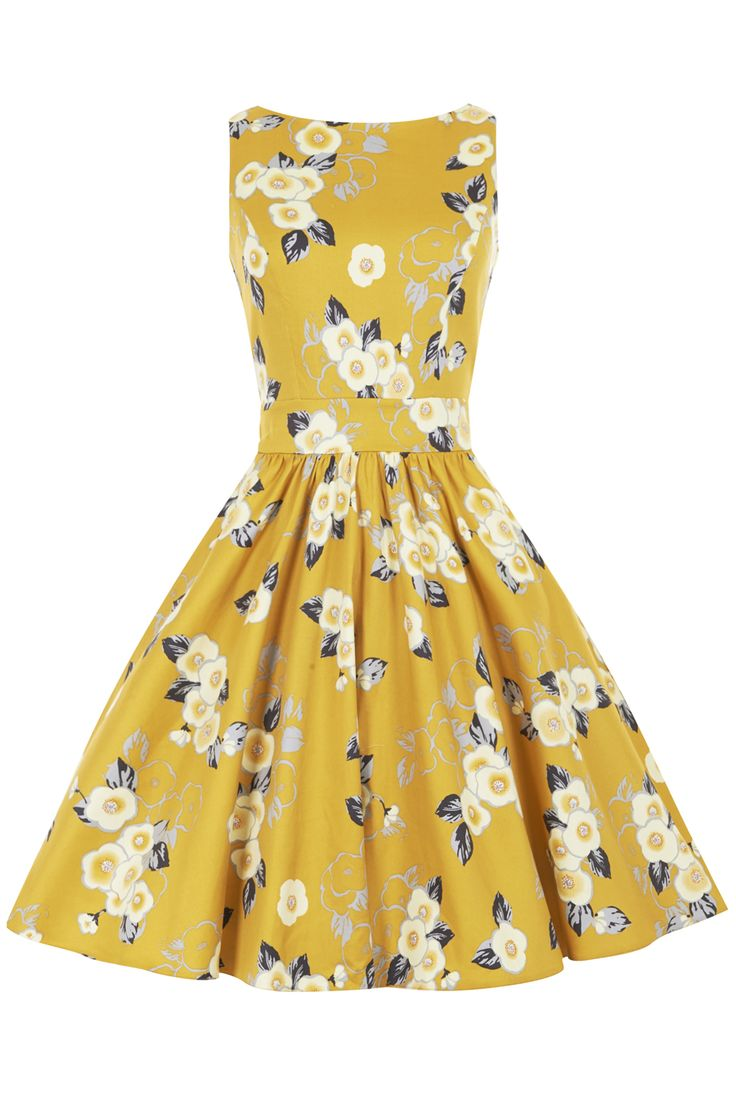 Yellow Floral Tea Dress : Lady Vintage