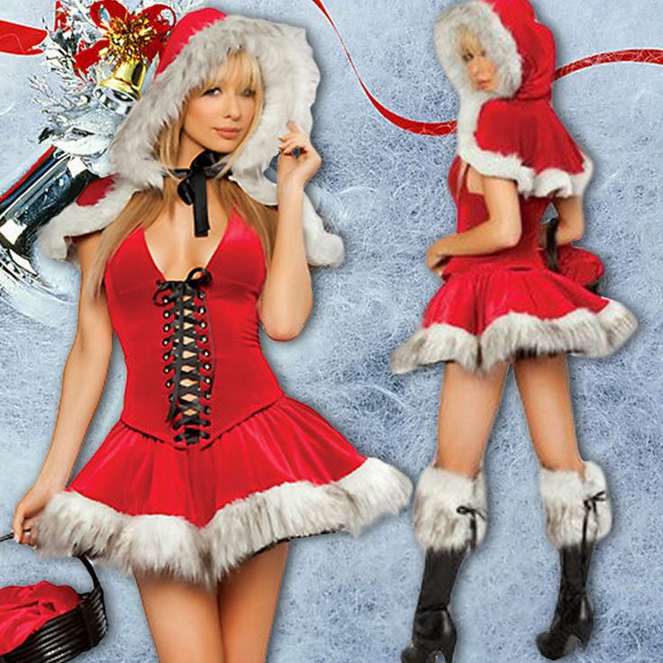 2016 Sales Sexy Red Christmas Dress and Hooded Coat  Fantasy Women Holiday Lingerie Santa Claus costumes for girls♦️ SMS - F A S H I O N  http://www.sms.hr/products/2016-sales-sexy-red-christmas-dress-and-hooded-coat-fantasy-women-holiday-lingerie-santa-claus-costumes-for-girls/ US $22.11