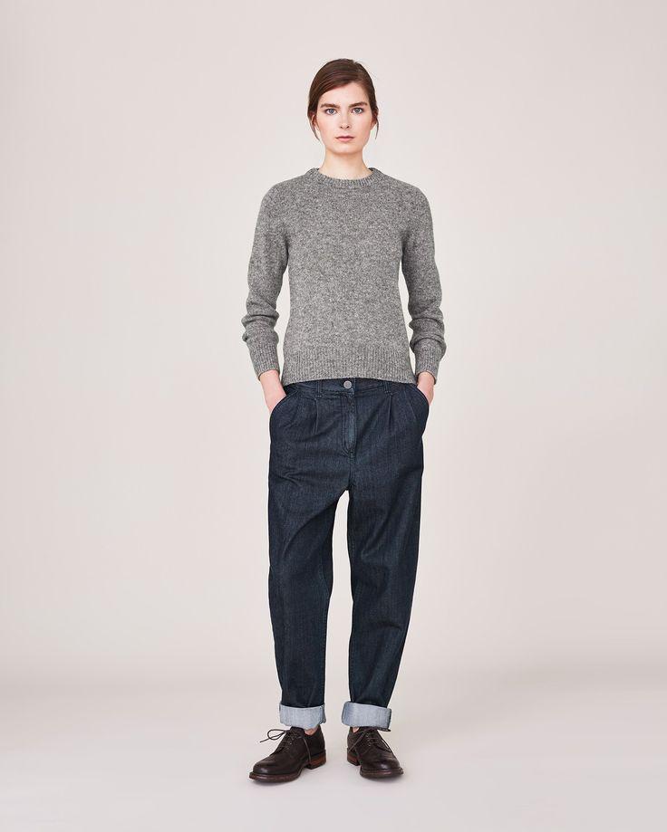 Women's Indigo Denim Pleated Trouser - Reg | Toast