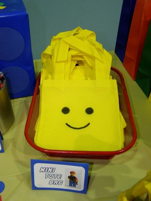 Creative favor bags at a Lego Birthday Party!  See more party ideas at CatchMyParty.com!  #partyideas #lego