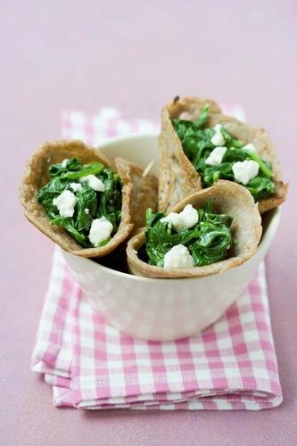 Wraps med spinat og feta
