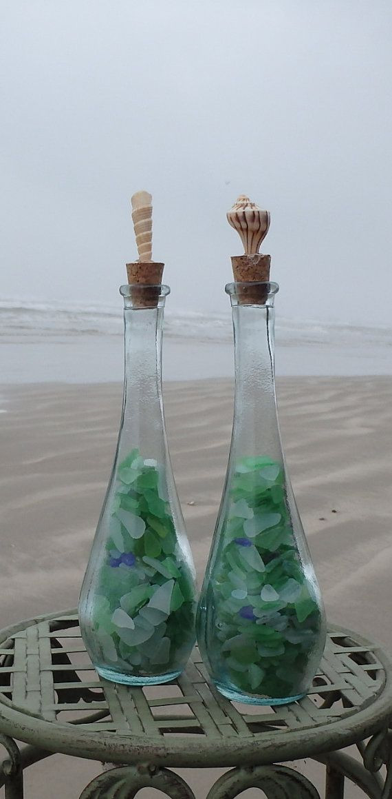 Set of Two Genuine Sea Glass in a Bottle on Etsy, $30.00