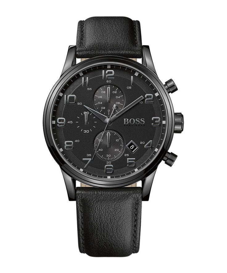 40 % off - Hugo Boss Aeroliner black steel & leather watch, Designer  Sale, Outlet, SECRETSALES