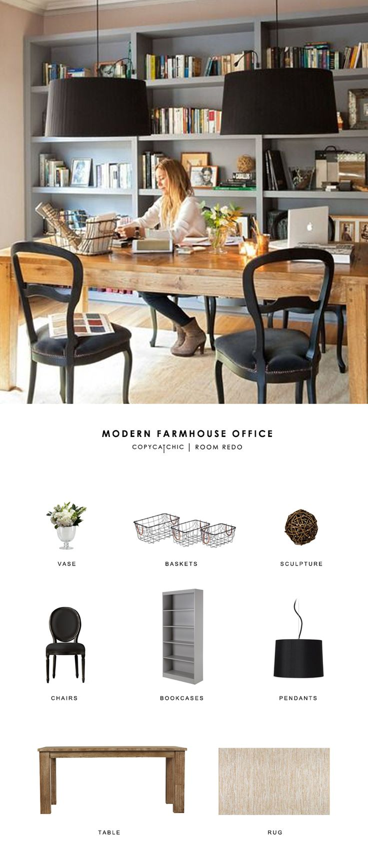 A modern farmhouse office gets recreated for less by copycatchic luxe living for less budget home decor and design looks for less