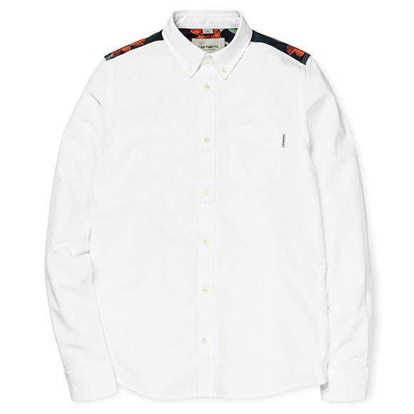 Carhartt WIP Blair Shirt - White / Tropic Print (Rinsed)