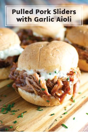 Slide into everyone's favorites list with these BBQ Pulled Pork Sandwiches. Topped with homemade garlic aioli and dripping with sweet barbecue sauce, these sliders are a great semi-gourmet finger food for game day. Use Bounty Paper Towels to catch all the drips!
