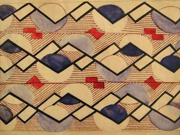 Ольга Розанова. Эскиз орнамента для ткани, 1917-18