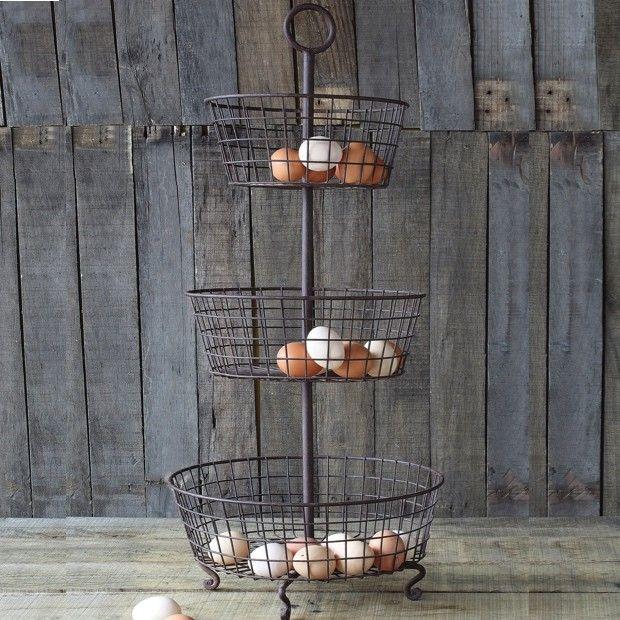 Rustic Metal 3 Tier Basket Stand