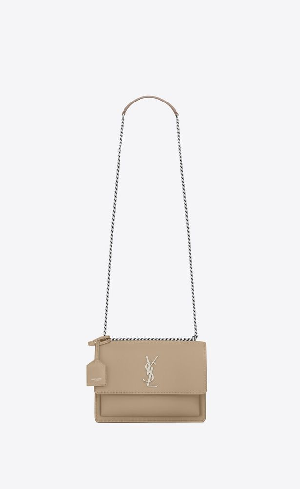 Saint Laurent Sunset Woman Medium Sunset Bag In Dark Beige Leather A V4 Yves Saint Laurent Bags Ysl Sunset Bag Beige Bag
