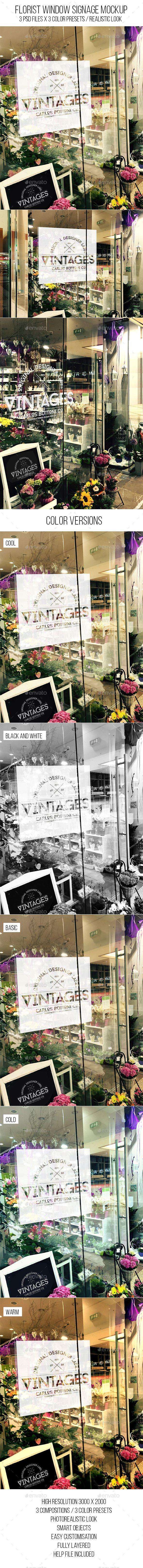 Florist Window Signage Mockup #design #presentation Download: http://graphicriver.net/item/florist-window-signage-mockup/11905122?ref=ksioks