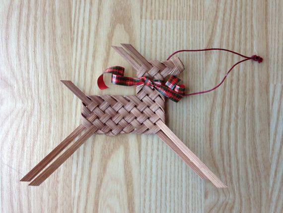 Handwoven Reindeer Ornament Reed Ribbon Oak by BHBasketsNBeadworks, $10.00
