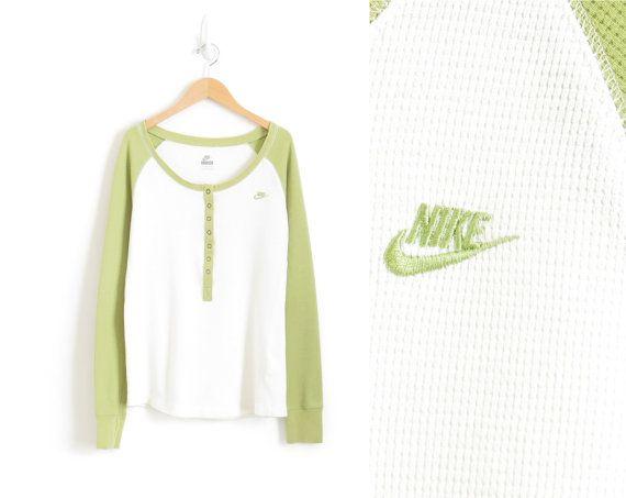 Nike Shirt Aesthetic Grunge Clothing Long Sleeve Tee 90s Hip Hop Clothing Pastel Goth Shirt Women Thermal Shirt Baseball Tee Medium Large XL